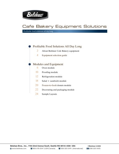 Belshaw Cafe Bakery Equipment Solutions- product guide North America
