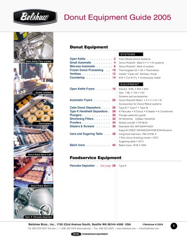 Belshaw donut equipment guide- Europe/Asia/ Australasia/ Africa/ Pacific Islands