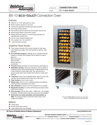 BX10 Eco-touch Convection Oven
