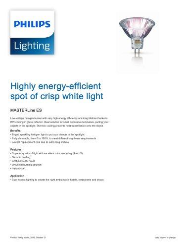 Highly energy-efficient spot of crisp white light