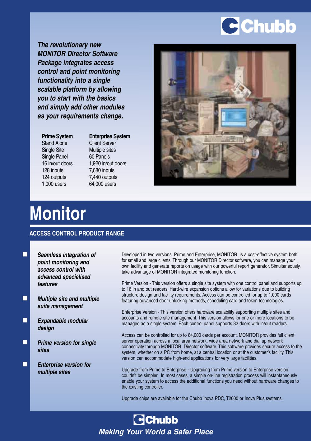 Chubb Monitor Pdf Catalogues Documentation Brochures An Expandable Multi Zone Modular Burglar Alarm 1 2 Pages
