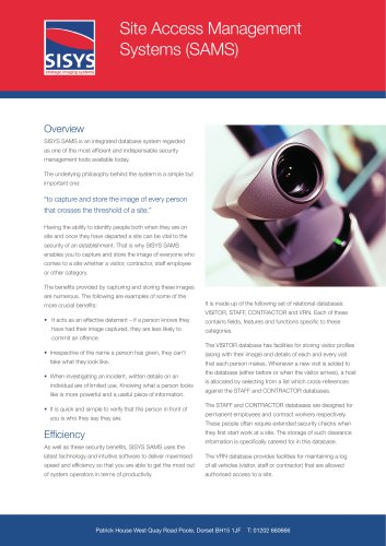 Site Access Management Systems (SAMS)
