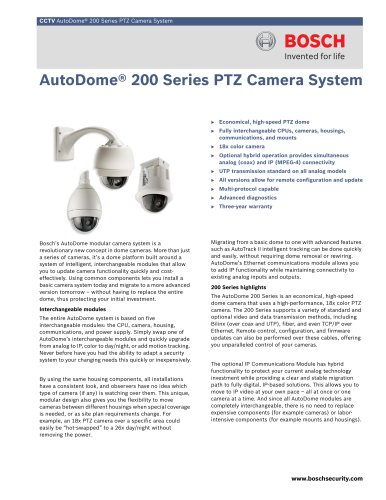 AutoDome® 200 Series PTZ Camera System