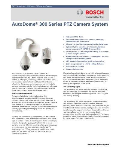 AutoDome® 300 Series PTZ Camera System