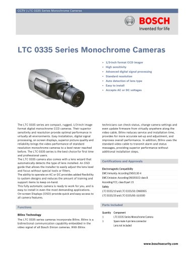 LTC 0335 Series Monochrome Cameras
