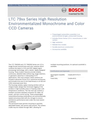 LTC 7935, LTC 7945 Series High Resolution Environmentalized Monochrome and Color CCD Cameras