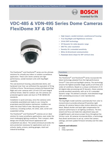 VDC-485 and VDN-495 Series Dome Cameras FlexiDome XF and DN