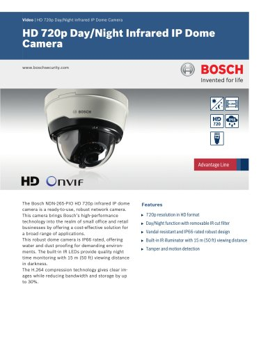 Vidéo/IP Cameras:HD 720p Day/Night Infrared IP Dome Camera