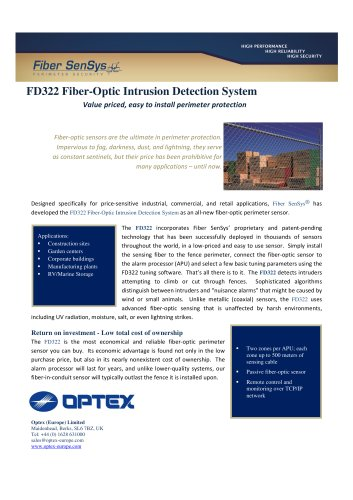 Fd322 Fiber Optic Intrusion Detection System Optex Europe Pdf Catalogs Documentation Brochures