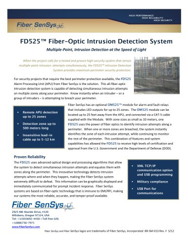 Fd525 Fiber Optic Intrusion Detection System Optex Europe Pdf Catalogs Documentation Brochures