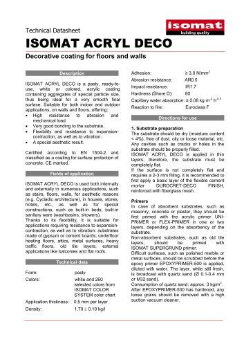 Technical Datasheet ISOMAT ACRYL DECO