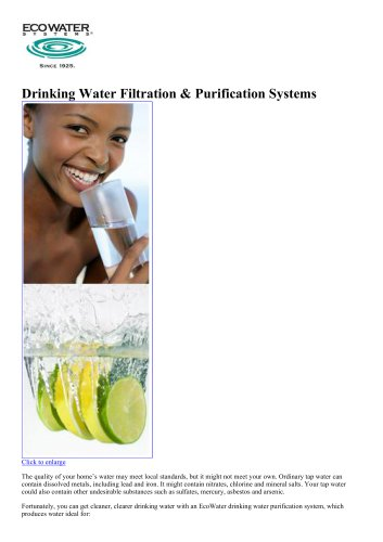 Drinking Water Filtration & Purification Systems