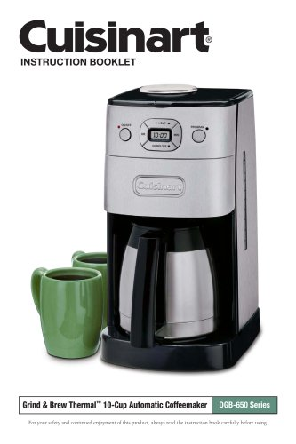Grind & Brew Thermal? 10-Cup Automatic Coffeemaker DGB-650 Series