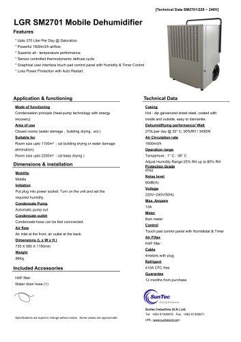 LGR SM2701 Mobile Dehumidifier