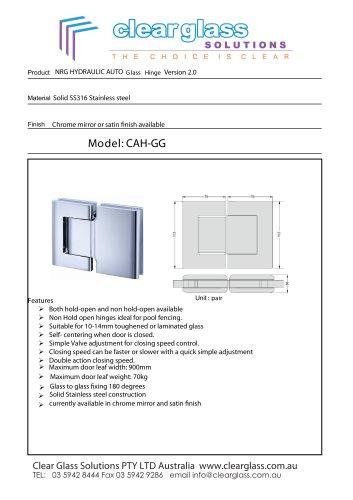 Nrg Hydraulic Auto Glass Hinge Version 2 0 Clear Glass Pdf Catalogs Documentation Brochures