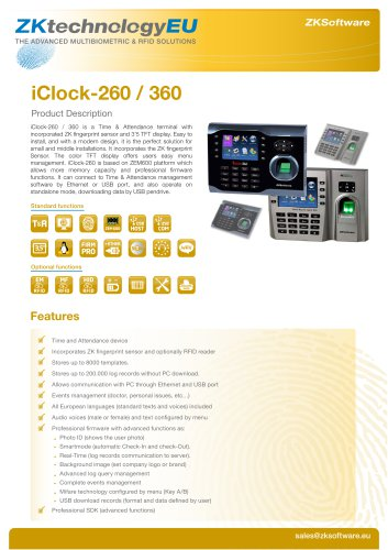 iClock-260 / 360 - ZKTeco - PDF Catalogs | Documentation