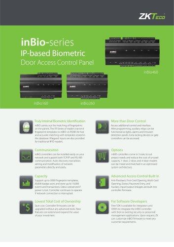inBio-160/260/460 - ZKTeco - PDF Catalogs | Documentation