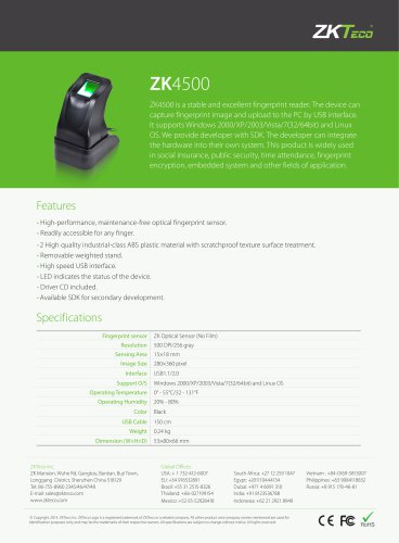 ZK4500 - ZKTeco - PDF Catalogs | Documentation | Brochures