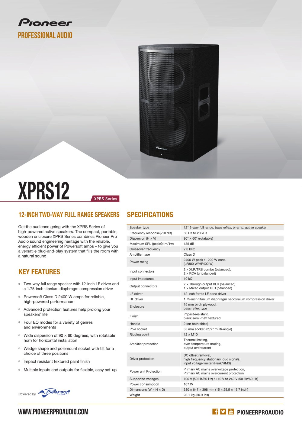Xprs 12 Pioneer Pro Audio Pdf Catalogues Documentation Brochures Inch Full Range 1 2 Pages