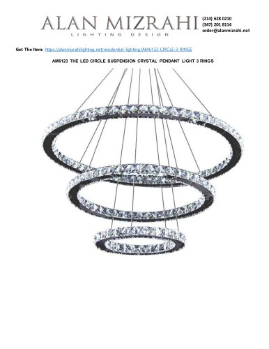 AM6123 THE LED CIRCLE SUSPENSION CRYSTAL PENDANT LIGHT 3 RINGS