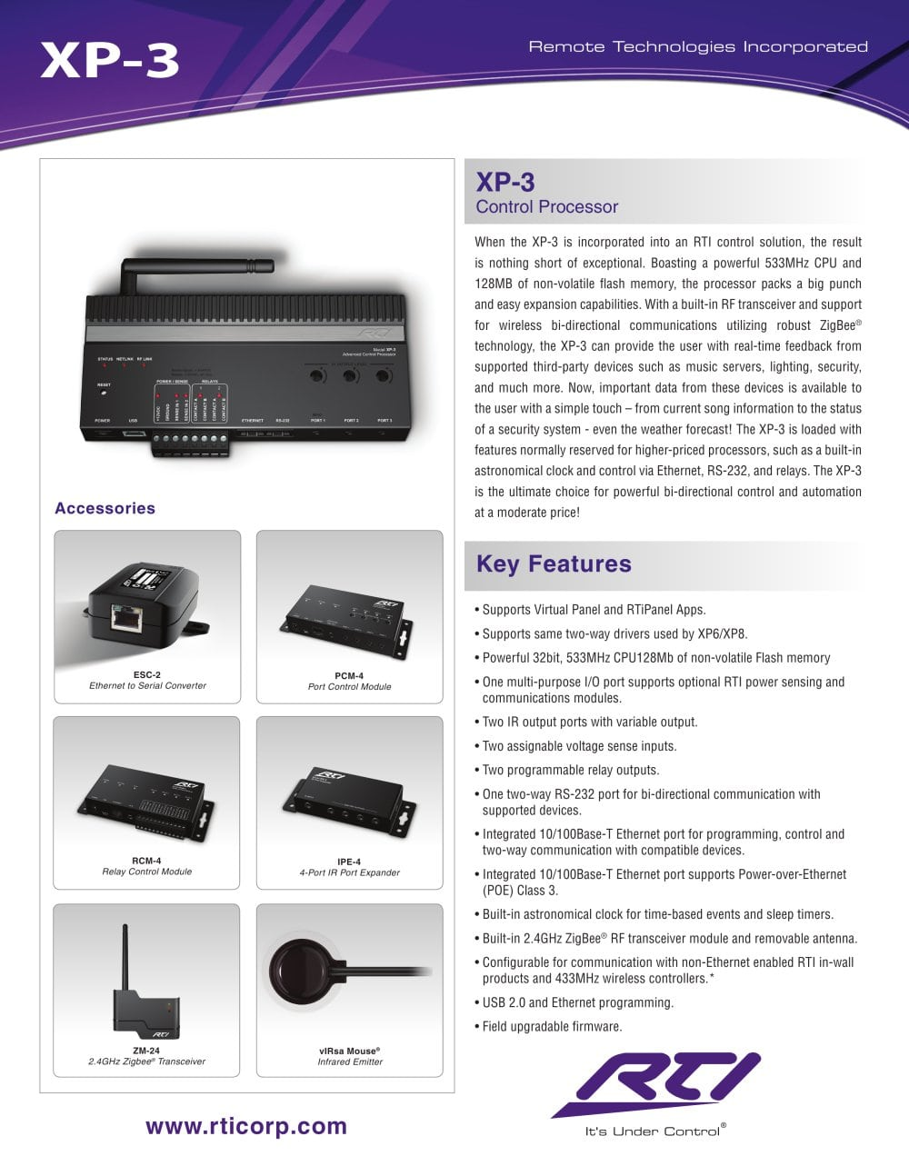Xp 3 Control Processor Remote Technologies Incorporated Rti Next The Four Relay Outputs From Inbuilt Relays 1 2 Pages