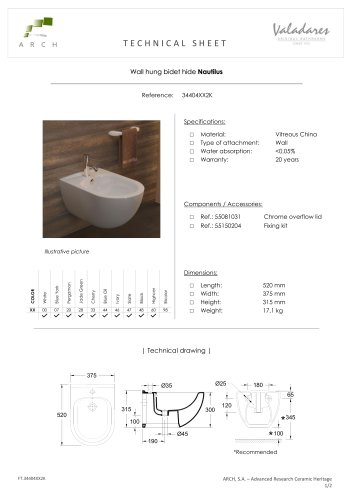Wall hung bidet hide Nautilus
