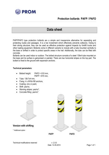 Protection bollards PAFP / PAFO
