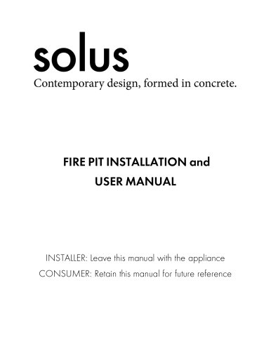 FIRE PIT INSTALLATION and USER MANUAL