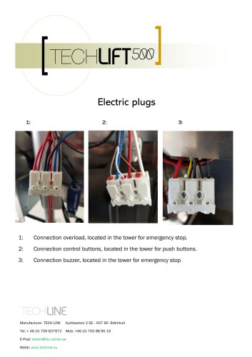 TECHLIFT500 Electric plugs