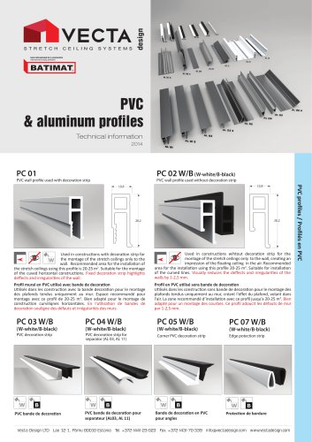 VECTA Aluminum Profiles for Stretch Ceilings