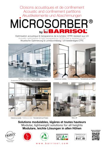 Acoustic and confinement partitions MICROSORBER® by BARRISOL®