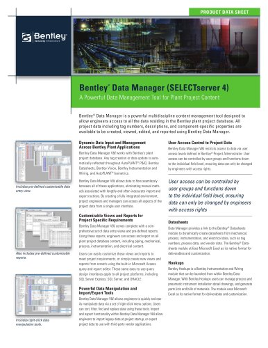 Bentley ® Data Manager