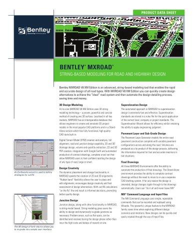 Bentley Mxroad V8i Bentley Systems Pdf Catalogs Documentation Brochures