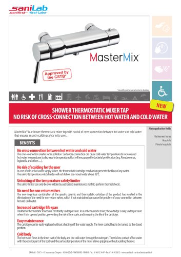 MasterMix - Thermostatic mixer tap no risk of cross-connection between hot and cold water