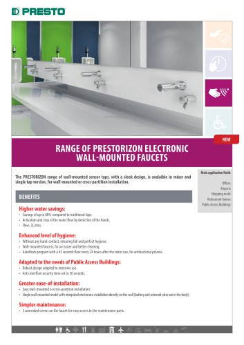 Prestorizon electronic wall-mounted faucets