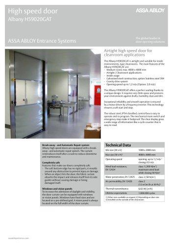 Albany HS9020GAT high speed clean room door