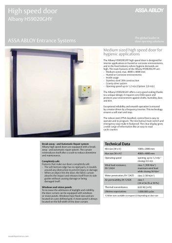 Albany HS9020GHY high speed hygiene door