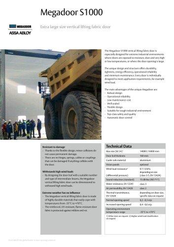 Megadoor S1000 vertical lifting fabric door