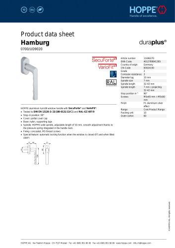 Product data sheet Hamburg 0700/UD9020