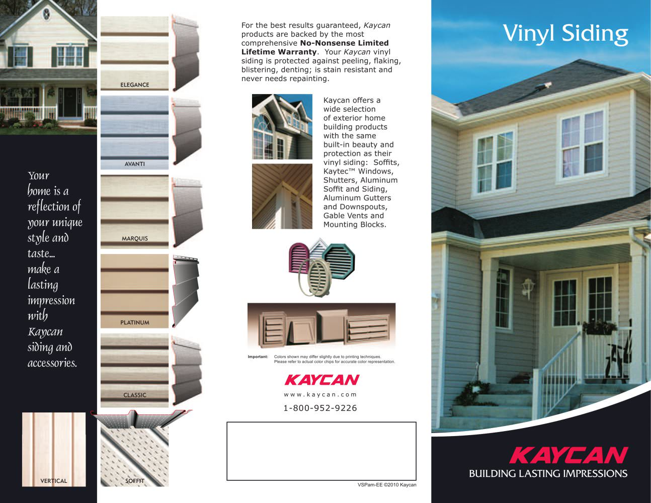 Vinyl Siding Pamphlet 1 2 Pages