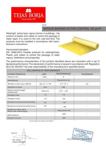 VAPOUR BARRIER ACTIVE CONTROL 100 gr/m2