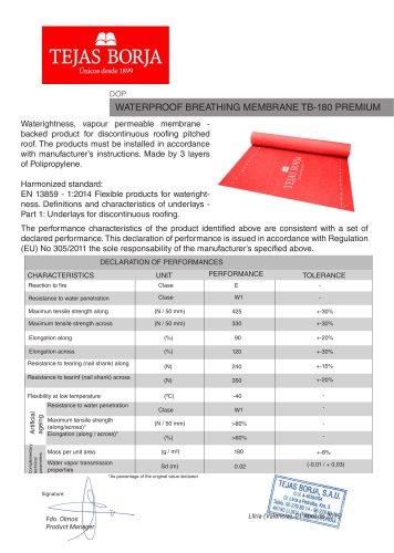 WATERPROOF BREATHING MEMBRANE TB-180 PREMIUM