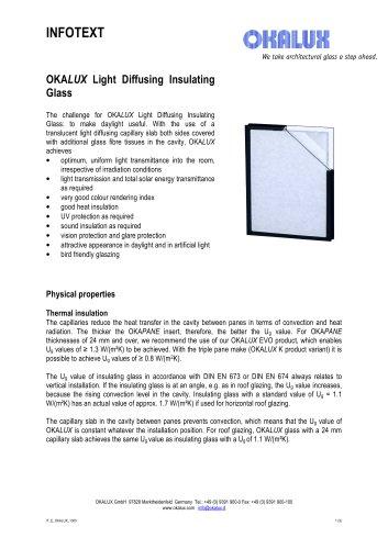 OKALUX Light Diffusing Insulating Glass