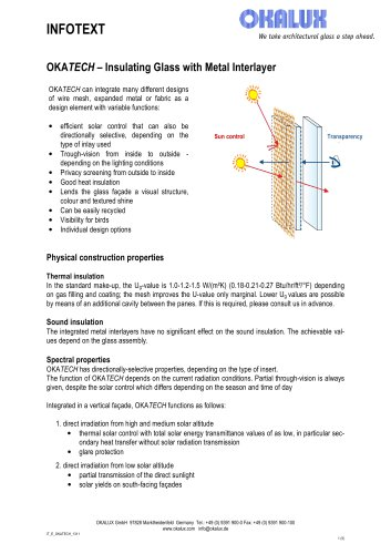 OKATECH Insulating Glass with Metal Insert