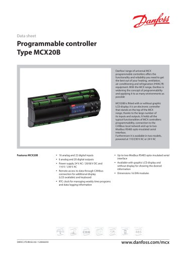 Programmable controller Type MCX20B