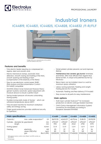 Industrial Ironers IC44819, IC44821, IC44825, IC44828, IC44832 /F-R/FLF