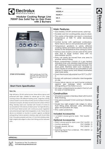 Modular Cooking Range Line 700XP Gas Solid Top on Gas Oven with 2 Burners