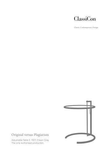 ClassiCon Adjustable Table E1027 Original versus Plagiarism