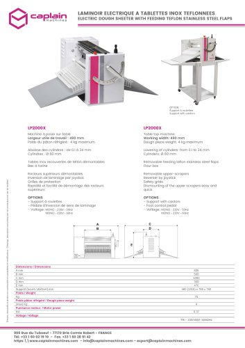 ELECTRIC DOUGH SHEETER WITH FEEDING TEFLON STAINLESS STEEL FLAPS