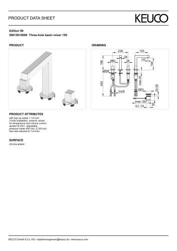 59015010000 Three-hole basin mixer 150